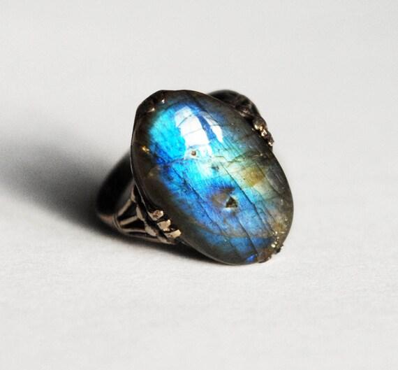 ON SALE! Winter Jewel Labradorite & Blackened Silver Ring
