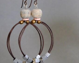 Leather, Bone and Bronze loop earrings