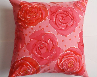 SUMMER SALE - Throw Pillow Cover, Pretty Pink Floral Accent Pillow Cover, Handmade Large Pink Roses Cushion Cover, Pretty Roses Throw Pillow