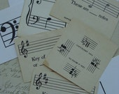 Dozen Rare and Pretty Antique 1950s  Music lesson Flash Cards limited supply