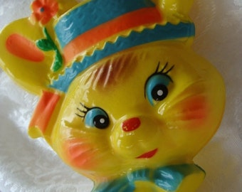 Vintage Easter Kitsch Adorable Bunny Face