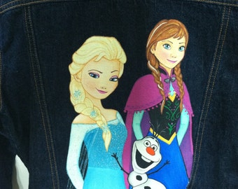 Custom Disney clothing Painted Frozen Princess 3 characters   Elsa, Anna, Olaf or other boy or girl characters  jean jacket  12 m to 12 teen