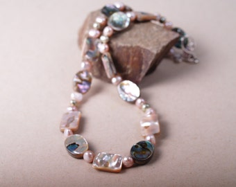 Shimmery abalone tile necklace