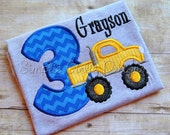 Custom monster truck birthday shirt. Personalized. Sizes 12m to boy's large. Other colors and sizes available.