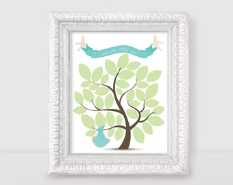 "baby shower signature guest book tree 10x8"" print welcome little one new baby boy girl gender neutral nursery art turquoise & green leaves"