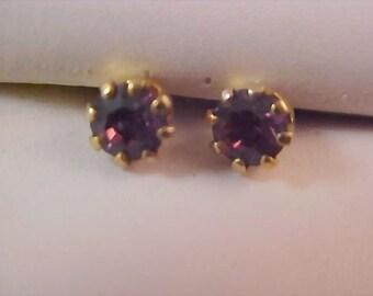Deep Purple AMETHYST Austrian Swarovski Crystal Stud Earrings New/Old Stock