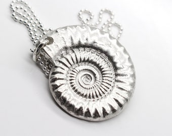 Silver Fossil Necklace, Silver Ammonite Necklace, EcoFriendly Pure Silver Pendant Necklace, Geology, Shell Necklace, Nautilus Necklace