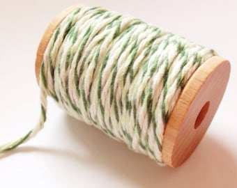 10 yards (30 feet) - Green and White Soft Cotton Twine on a wooden spool