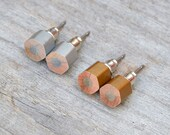 Pencil Earring Studs In Silver Or Golden Color, Hexagon Colored Pencil Earring, Handmade In The UK By Huiyi Tan
