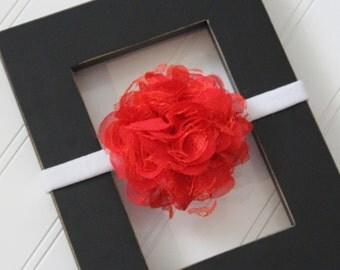 Red Chiffon Lace Headband- Newborn Baby Child- Photo Prop - Boutique Bow Headband