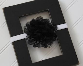 Black Chiffon Lace Headband- Newborn Baby Child- Photo Prop - Boutique Bow Headband