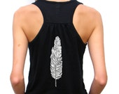Ladies Flowy Racerback Tank - Hand Drawn Feather Design - Small, Medium, Large, Extra Large, 2XL