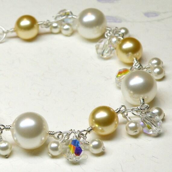 Yellow Bridesmaid Bracelet, Pearl Swarovski Sterling Silver, Ivory and Yellow Bracelets, Bridal Jewelry, Yellow Wedding, Spring Fashion