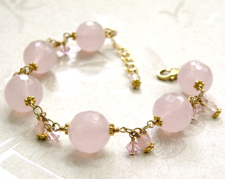 quartz bracelet pink light pink gemstone gold