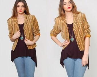 Vintage 80s STRIPED Crop Jacket Gold & Amber PINSTRIPE Jacket Lightweight Indie Short Jacket Fitted Blazer
