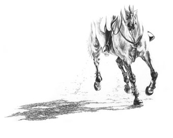 """EQUINE FINE ART """"Chasing the Lead"""" Horse Equestrian Show Jumping Open Edition print by Joanna Zeller Quentin"""