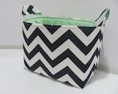 LARGE Fabric Organizer Basket Storage Container Bin Bucket Bag Diaper Holder Home Decor- Size Large - Navy Blue/White Chevron Canvas Fabric