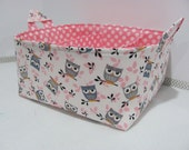 "Fabric Diaper Caddy - Storage Container Basket - 11""x11"" Organizer Bin - Tote Bag - Nursery Storage - Baby Gift -Tossed Owls White/Grey/Pink"