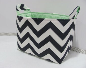 LARGE Fabric Organizer Basket Storage Container Bin Bucket Bag Diaper Holder Home Decor- Size Large - Navy Blue/White Chevron Canvas Fabric