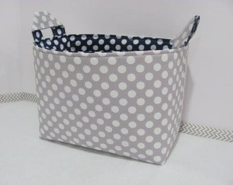 LARGE Fabric Organizer Basket Storage / Container Bin / Bucket / Bag Diaper Holder / Home Decor- Size Large - Grey dots / Navy dots
