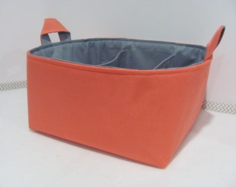 "Fabric Diaper Caddy - Storage Container Basket - 11""x11"" Organizer Bin - Tote Bag - Nursery Storage - Baby Gift - Coral and Grey Cotton"