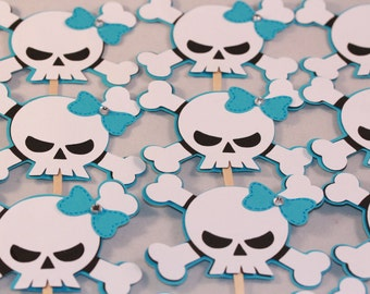 Blue, black and white skull cupcake toppers (24)