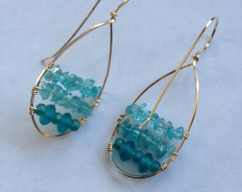 Floating Teal Glass Beads & Apatite  Gemstone Earrings in 14K Gold Filled Wire Frame