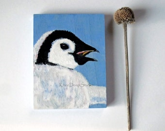 Miniature Penguin Painting Acrylics On Wood Tiny Art With