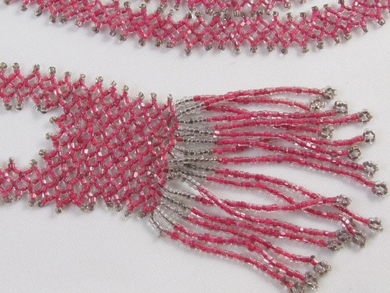 Vintage French Art Deco pink silver beaded sautoir fringe flapper necklace