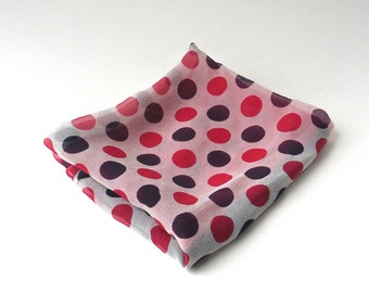 Mid Century vintage Red, White and Blue Polka Dot and Color Block  Sheer Silk Scarf