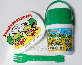 90's Keroppi small Bento box, fork, plastic bottle set