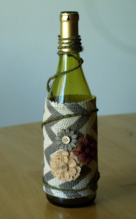Decorated wine bottle with chevron burlap and by theelatedowl for Wine bottles decorated with flowers