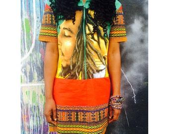 Bob Marley X Dashiki Reconstructed Dress