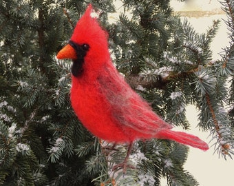 Needle Felted Cardinal, Red Bird, Male or Female