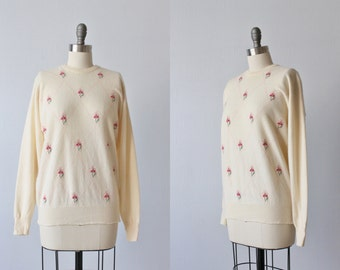 1950s Sweater / Cashmere Sweater / Pullover Sweater / Cream and Pink Argyle