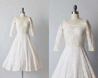 1950s White Lace Dress / Tea Length / Lace Dress / Three Quarter Sleeves / Emily