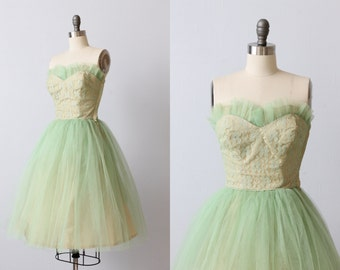 Vintage 1950s Dress / Prom Dress / Party Dress / Formal Dress / Butter Mint