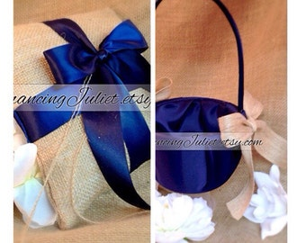 Rustic Earthy Burlap Ring Bearer Pillow and Flower Girl Basket Set.......Customized with Your Wedding Colors...