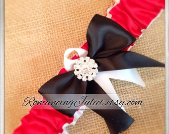 Simple Satin Deluxe Dual Color Bridal Garter with Rhinestone Accent..You Choose The Colors..shown in  red/white/black