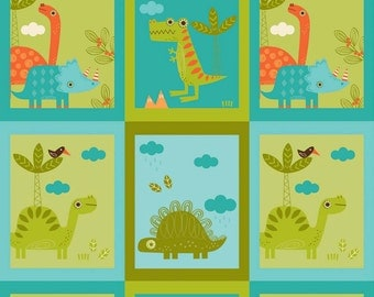 SPRING SALE - Dinosaur - Patch in Green - Sku C4161 - 1 Yard - by The Rbd Team for Riley Blake Designs