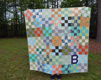 Initial Nine Patch Quilt, You choose Size and color palette