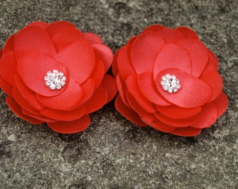 Coral Red Flower Brooches Bobby Pins Shoe Clips Set of 2