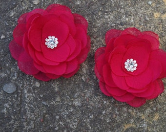 Pink Fuchsia Red Flower Brooches Bobby Pins Shoe Clips Bright Pink Set of 2