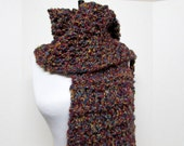 Drop Stitch Knit Scarf in Gold, Teal and Burgundy - Ready To Ship - Chunky Maroon Oxblood Warm