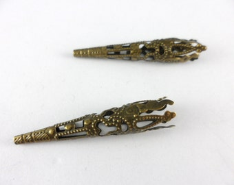 12 Filigree Long Cone Beadcaps Antique Brass Plated