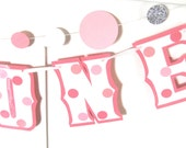 Highchair Banner I AM ONE Banner - 1ST Birthday Banner - pink polka dots