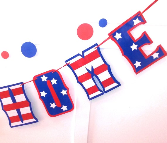 Giant WELCOME HOME Banner for Your Returning Soldier - Patirotic Red White and Blue Stars and Stripes