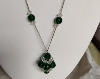 """1920's, 19"""" long, clusters of greenglass and crystal beads"""
