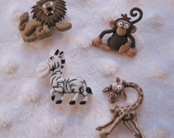Silly Safari Monkey Zebra Giraffe Lion Buttons Set of 4
