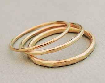 Gold Rings three thin and thick gold filled smooth stacking rings midi rings or hammered thumb rings